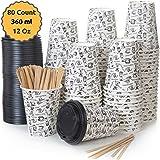 80 Bicchieri Carta per Prendere il Caffè – Tazza con Coperchio di 12 Oncia per Prendere il Caffè con le Stiratrici di Legno per il Prendere il Caffè, il Tè, le Bevande Calde e Fredde