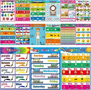"15 Large Educational Poster for Preschool Learning,Laminated Learning Charts for Toddlers Kids Nursery Homeschool Kindergarten Classroom - Teach Alphabet Letters Numbers Weather Emotions(17"" x 12"")"