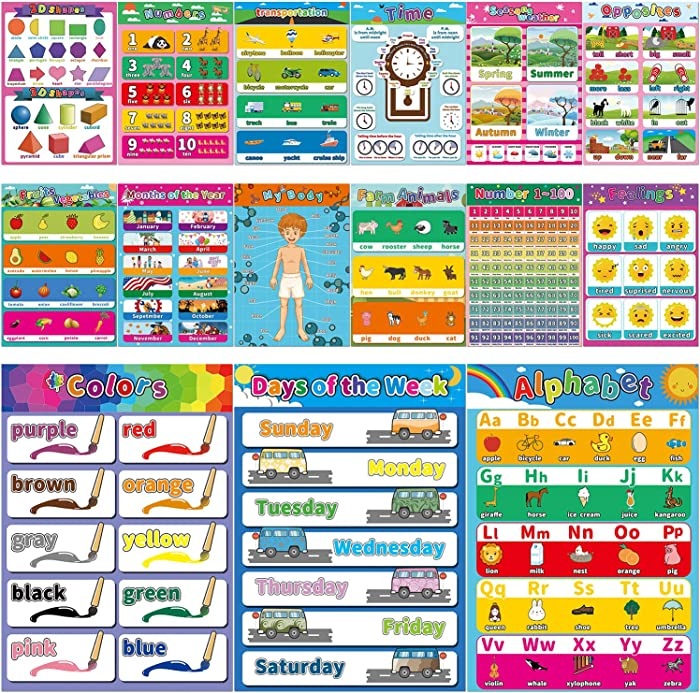 """15 Large Educational Poster for Preschool Learning,Laminated Learning Charts for Toddlers Kids Nursery Homeschool Kindergarten Classroom - Teach Alphabet Letters Numbers Weather Emotions(17"""" x 12"""")"""