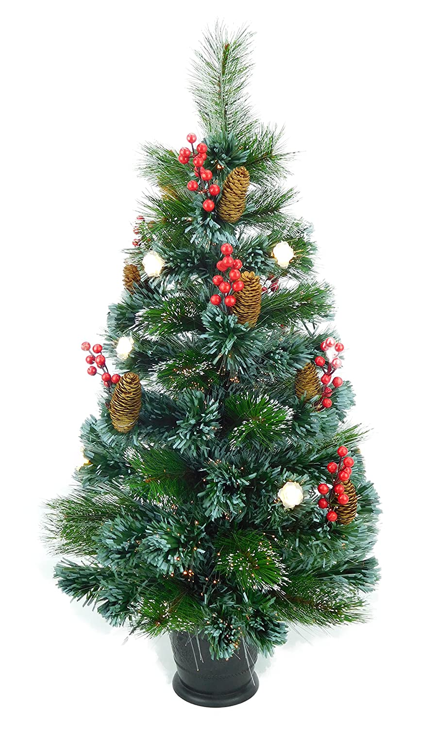 Christmas Concepts® 3ft (90cm) Pre Lit Frosted Fibre Optic Christmas Tree With Natural Cones & Red Berries With Warm White LED Rose Lights