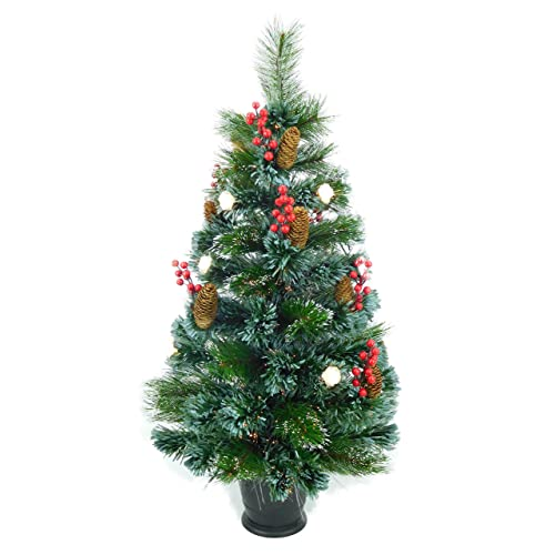 christmas concepts 3ft 90cm pre lit frosted fibre optic christmas tree with natural