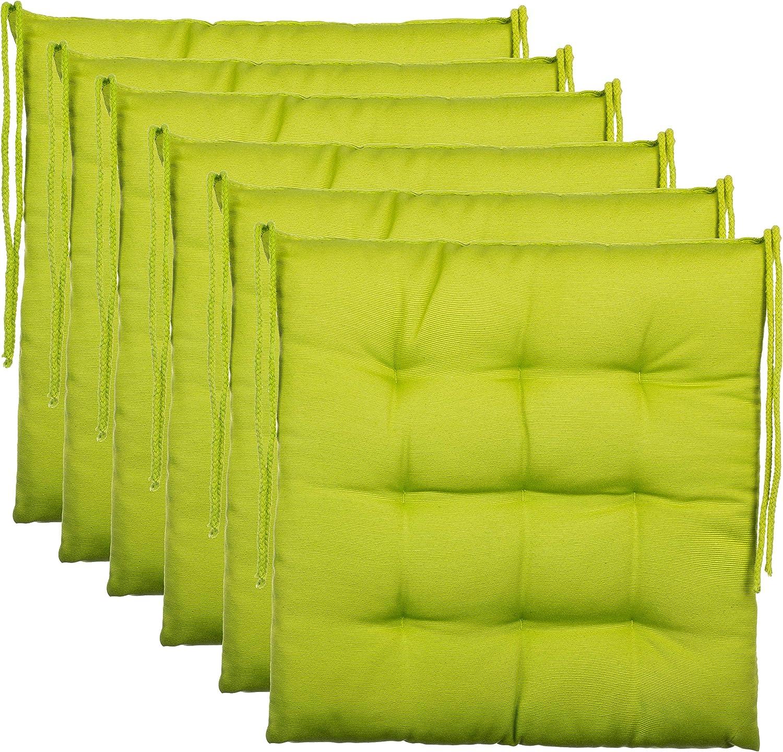 Brandsseller–Cojín decorativo de asiento para silla de jardín, 9 pespuntes, varios diseños, poliéster, verde, 6er-Paket