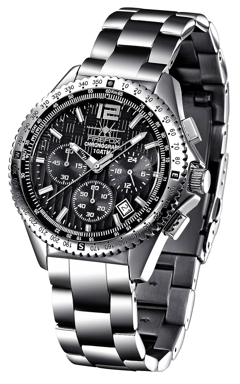 FIREFOX RACER FFS15-102b schwarz Herrenuhr Armbanduhr Chronograph massiv Edelstahl Sicherheitsfaltschließe 10 ATM