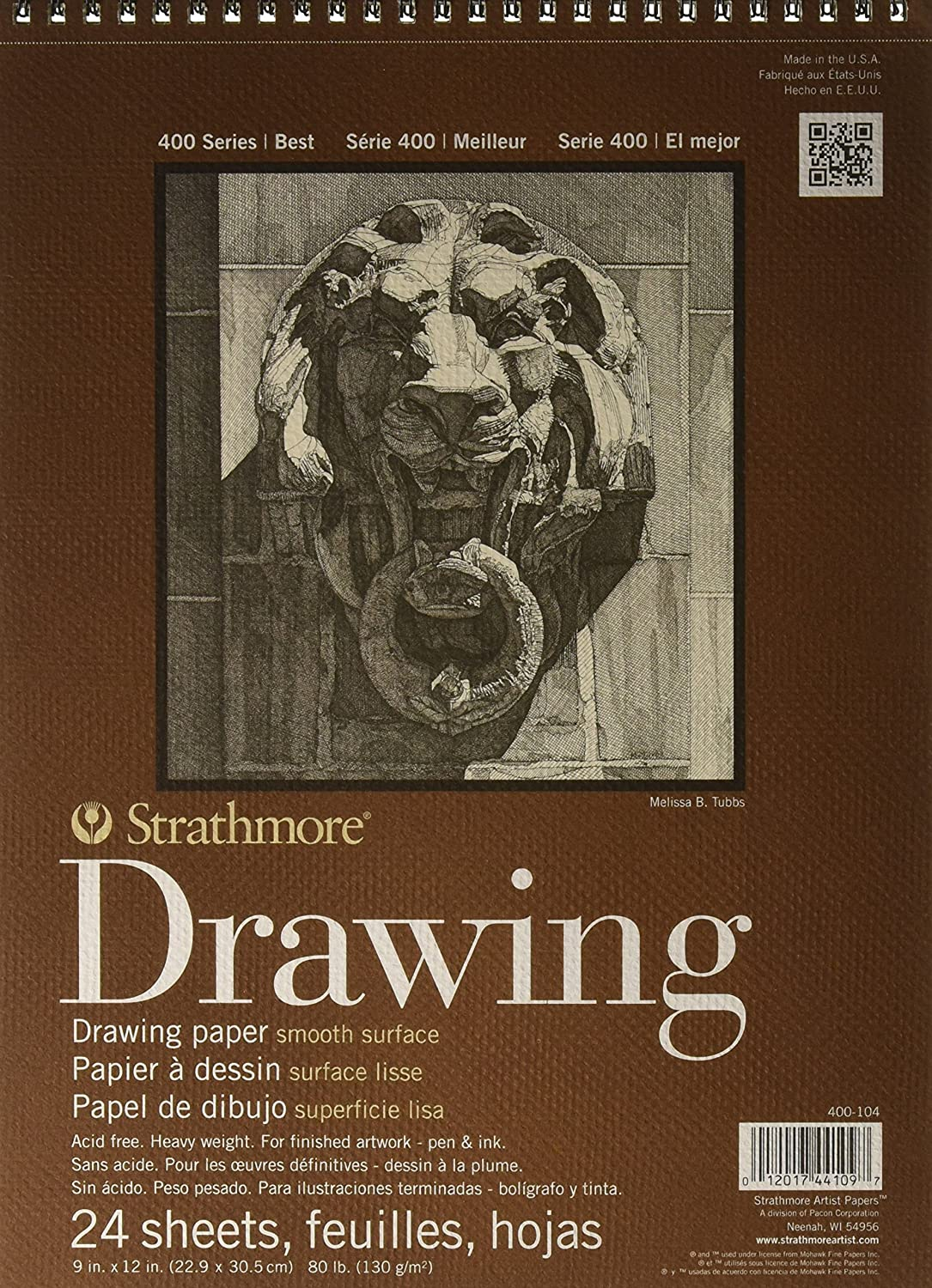 Strathmore 400 Smooth Surface Wire Bound Drawing Pad, 9 x 12 Inches (ST400-104) Strathmore Paper