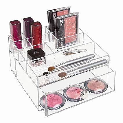 InterDesign Drawers Caja con compartimentos | Caja de maquillaje con 1 cajón y 11 compartimentos |
