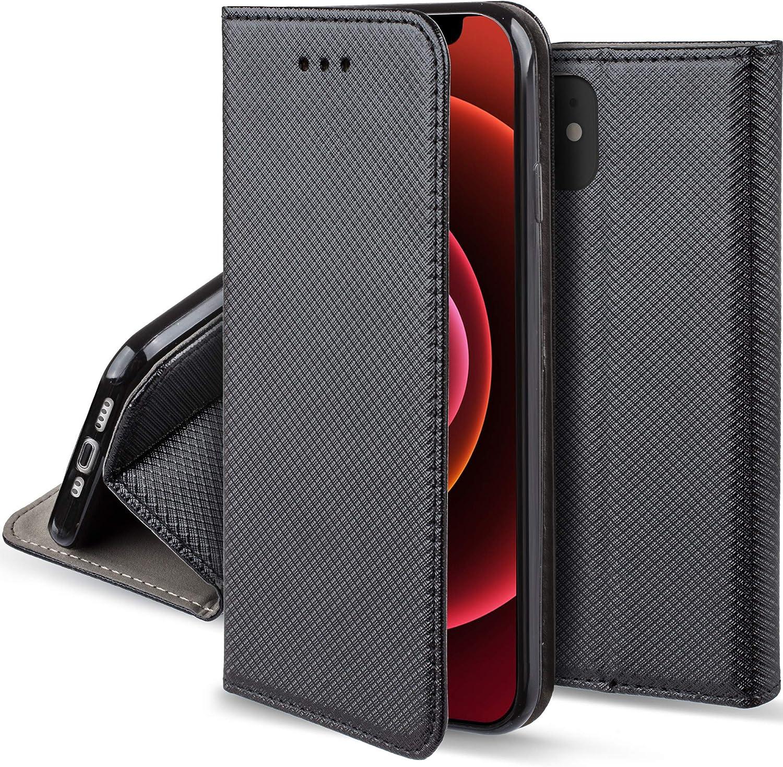 Moozy Cover per iPhone 12, iPhone 12 PRO, Nero - Custodia a Libro Flip Smart Magnetica con Appoggio e Porta Carte