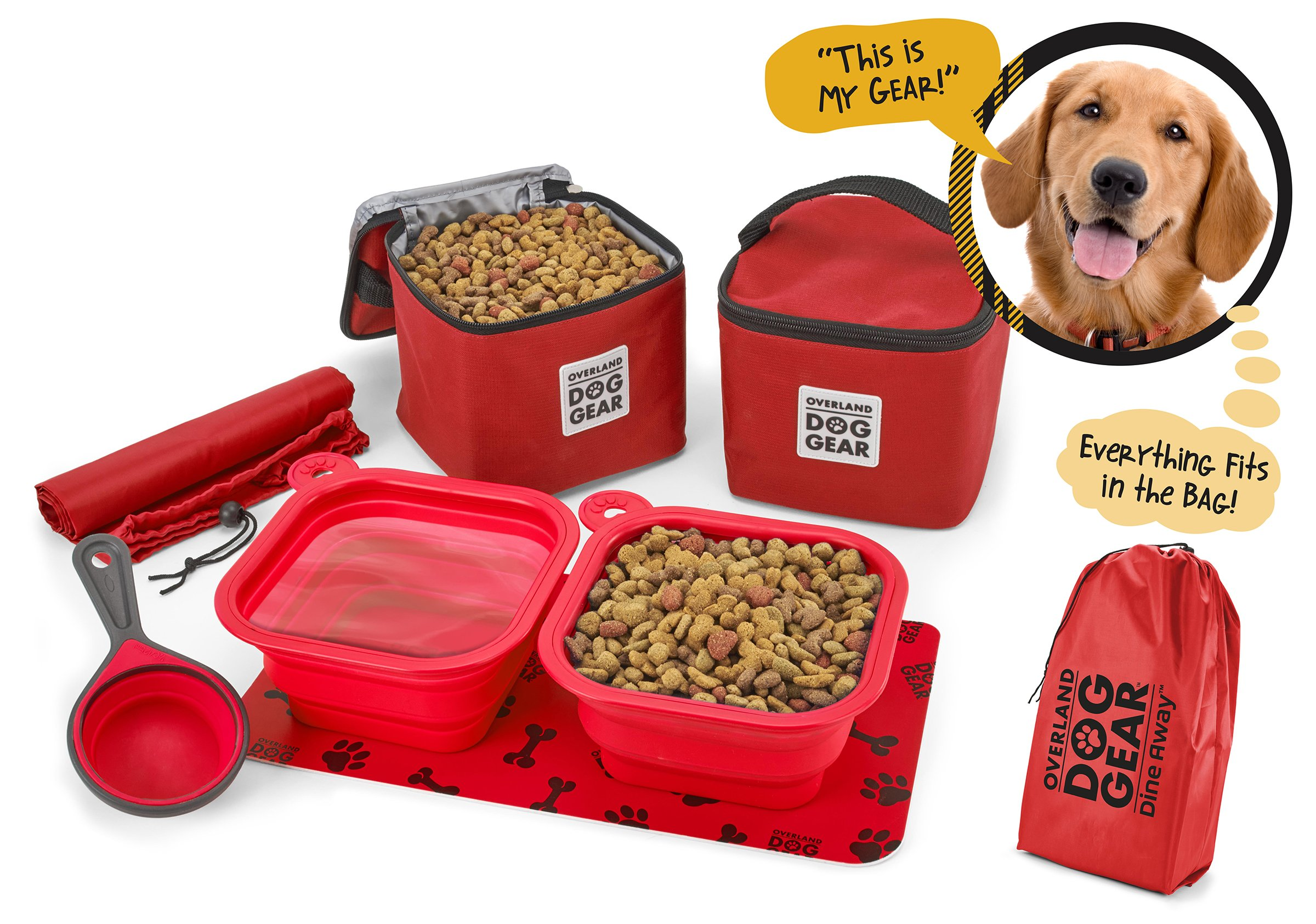 Dog Travel Food Set For Medium + Large Dogs (Red) - 7 Pieces Including Collapsible Bowls, Carriers, Scooper, Place Mat, Bag