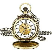 Charles-Hubert Paris 3866-G Reloj de bolsillo mecánico clásico chapado en oro con acabado envejecido