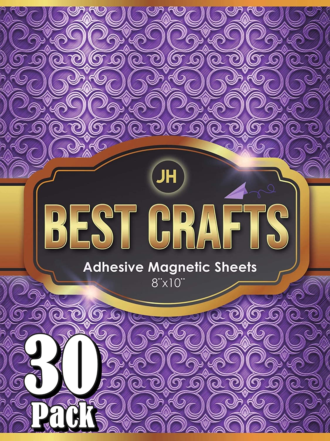 Pack of 30 Flexible Magnet with Adhesive Backing 8 x 10 Inch Magnets for Crafts and Pictures JH Best Crafts Adhesive Magnetic Sheets Cut to Any Size