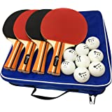 JP WinLook Ping Pong Paddle - 4 Pack Pro Premium Table Tennis Racket Set, 8 Professional Game Balls, Spin Rubber Bat, Training/recreational Racquet Kit, Accessories Bundle Portable Cover Case Bag
