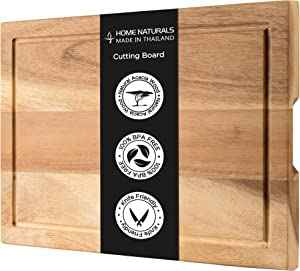 "Home Naturals Cutting Board - Acacia Wood Chopping, Cheese, Charcuterie Block with Side Handle - Hard & Thick Wooden Food Prep & Serving Tray - Perfect Gift for Chefs & Cooks - 18.9"" x 12.8"""