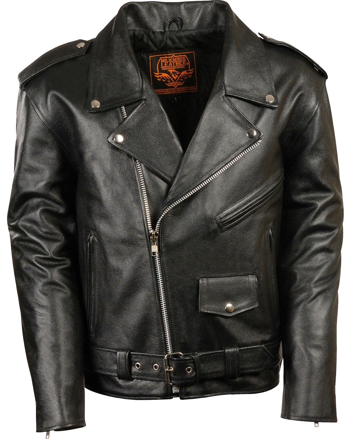 Milwaukee Leather Men's Classic Police Style M/C Jacket Big 5X Black 5X 2174794