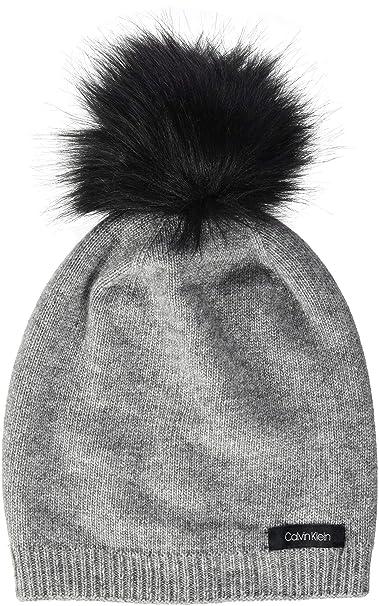 the latest c9042 f53f7 Calvin Klein Women's's 2 Clrs Pom Beanie (Mid Grey Heather ...