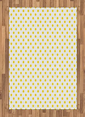 Amazon Com Ambesonne Yellow Area Rug Picnic Like Cute 50s 60s 70s