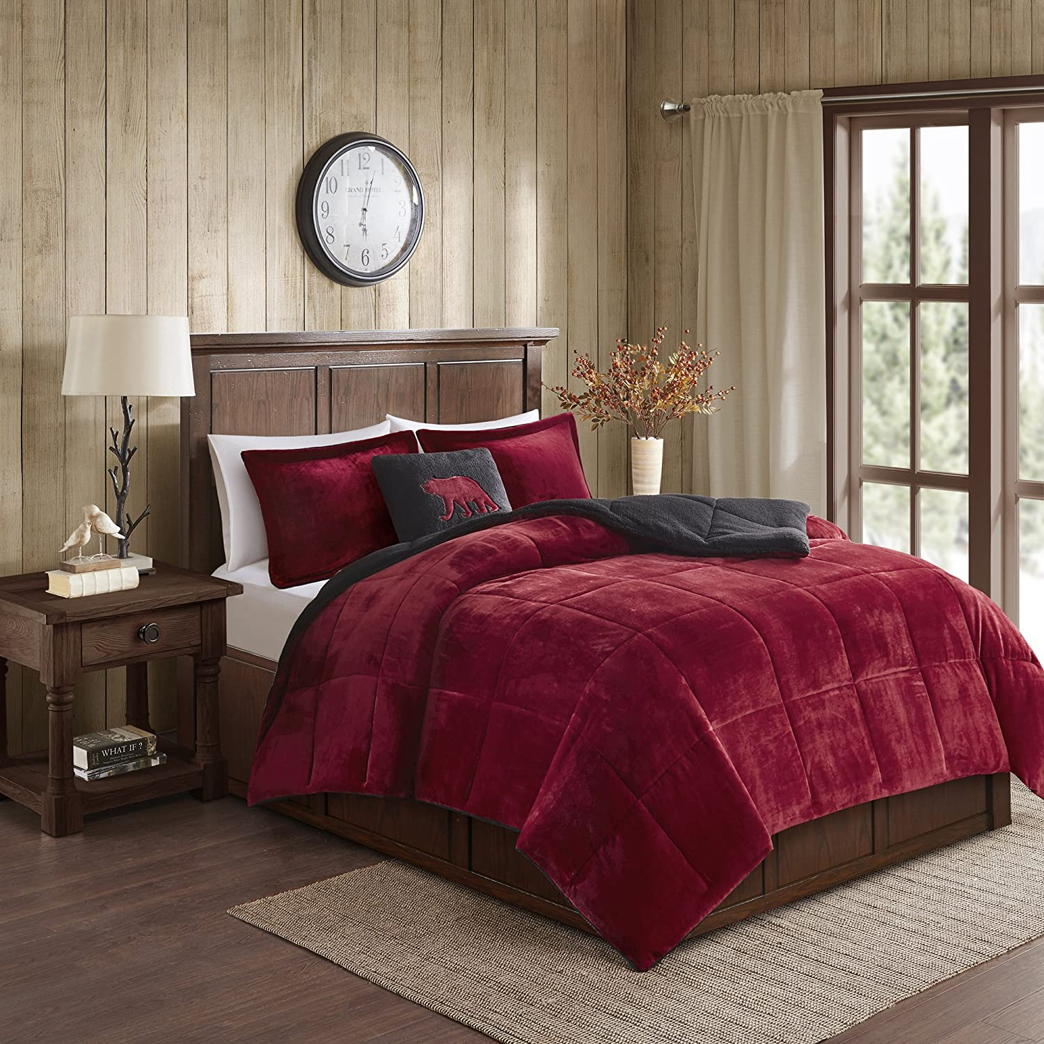 Woolrich Alton Ultra Soft Plush to Sherpa Berber Down Alternative Cold Weather Winter Warm Comforter Set Bedding, King, Red/Black