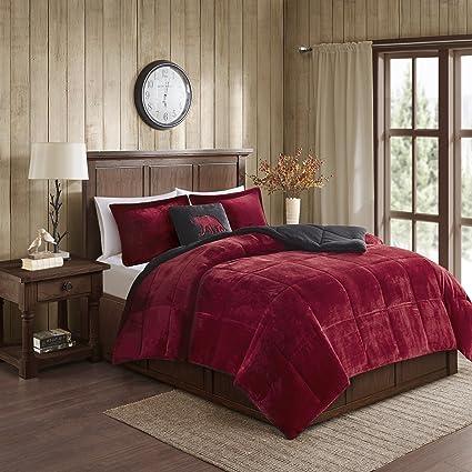 Amazon.com: Woolrich Alton King Size Bed Comforter Set - Burgundy ...