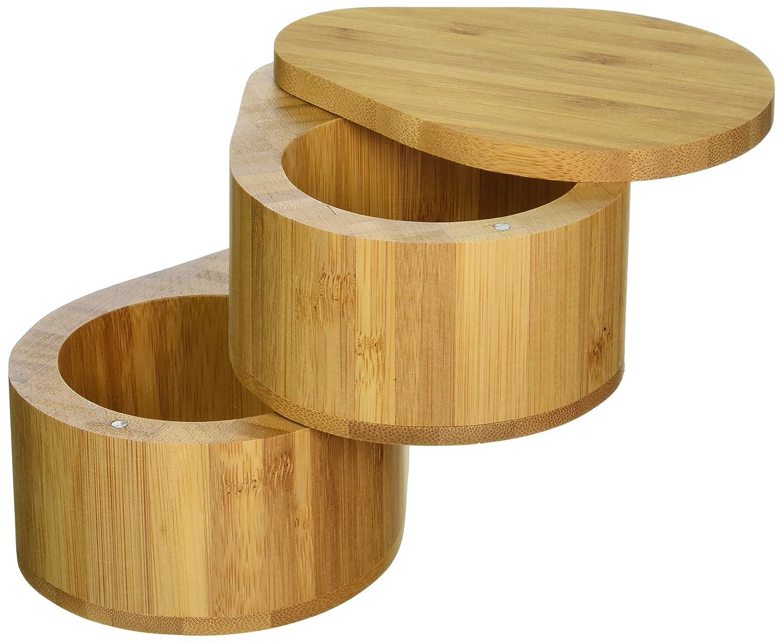 Set con 2 compartimentos para sal y especias hecho de bamb/ú 100//% natural y ecol/ógico