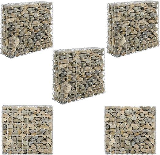 pro.tec] Set de 5X Gavión 100 x 30 x 90 cm Cesta de Piedras Banco de jardín Valla Alambre galvanizado: Amazon.es: Hogar