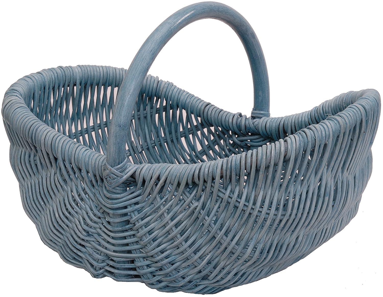 Einkaufskorb/Bü gelkorb / Shopper aus echtem Rattan, Henkel- Trage-Korb leicht und stabil (Blau) Korb-Outlet