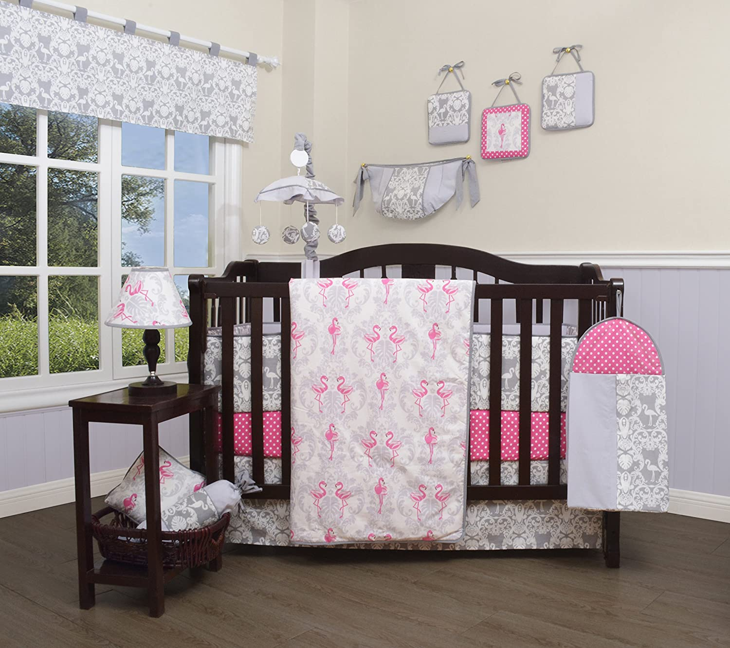 GEENNY 13 Piece Boutique Baby Nursery Crib Bedding Set, Flamingo Bird, Multi-Colors, Crib