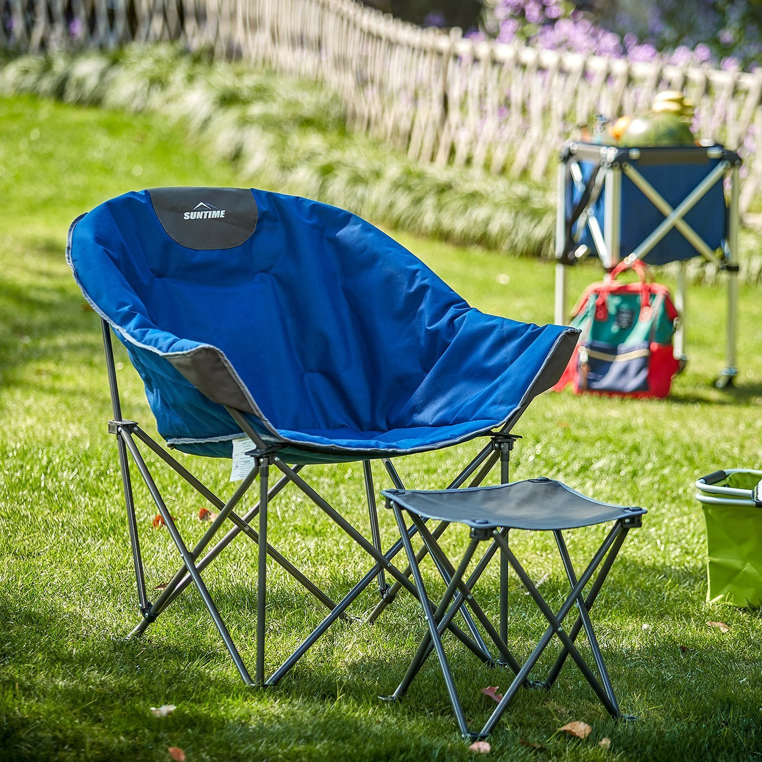SunTime Folding Camping Chair with Footstool、ポータブルレジャーバック椅子with Carryバッグ B0768DRMC4