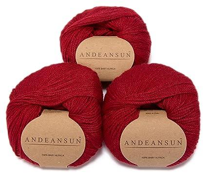 51ac93eec80 Amazon.com  100% Baby Alpaca Yarn Skeins - Set of 3 (RED ...