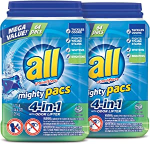 All Mighty Pacs Laundry Detergent, 4-in-1 with Odor Lifter, 2 Tubs, 64Count