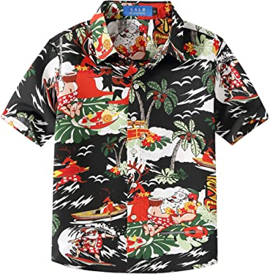 SSLR Camisa Hawaiana Tropical Estampado Navideño Papá Noel 3D Casual para Niño
