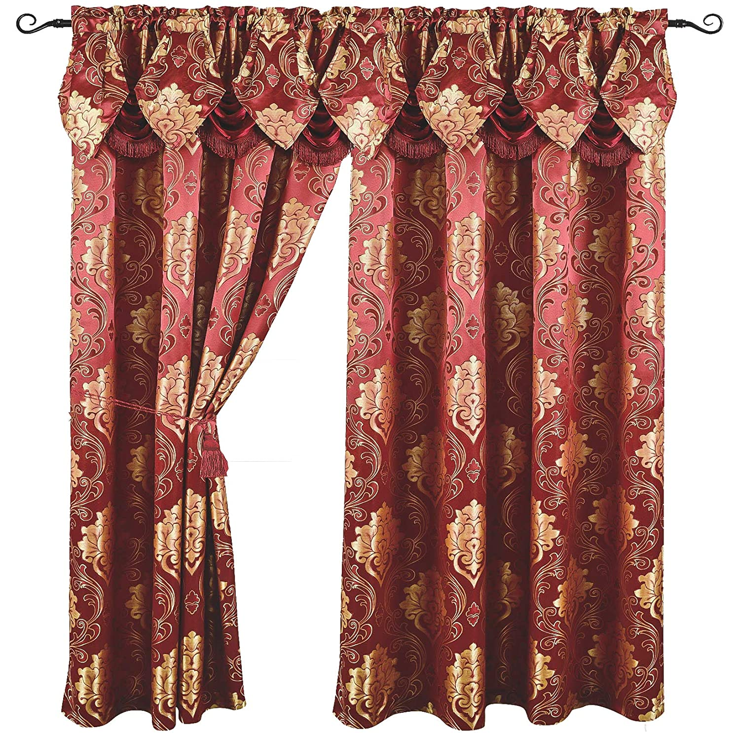 Luxury Jacquard Curtain Panel with Attached Waterfall Valance, 54 by 84-Inch Angelina Burgundy