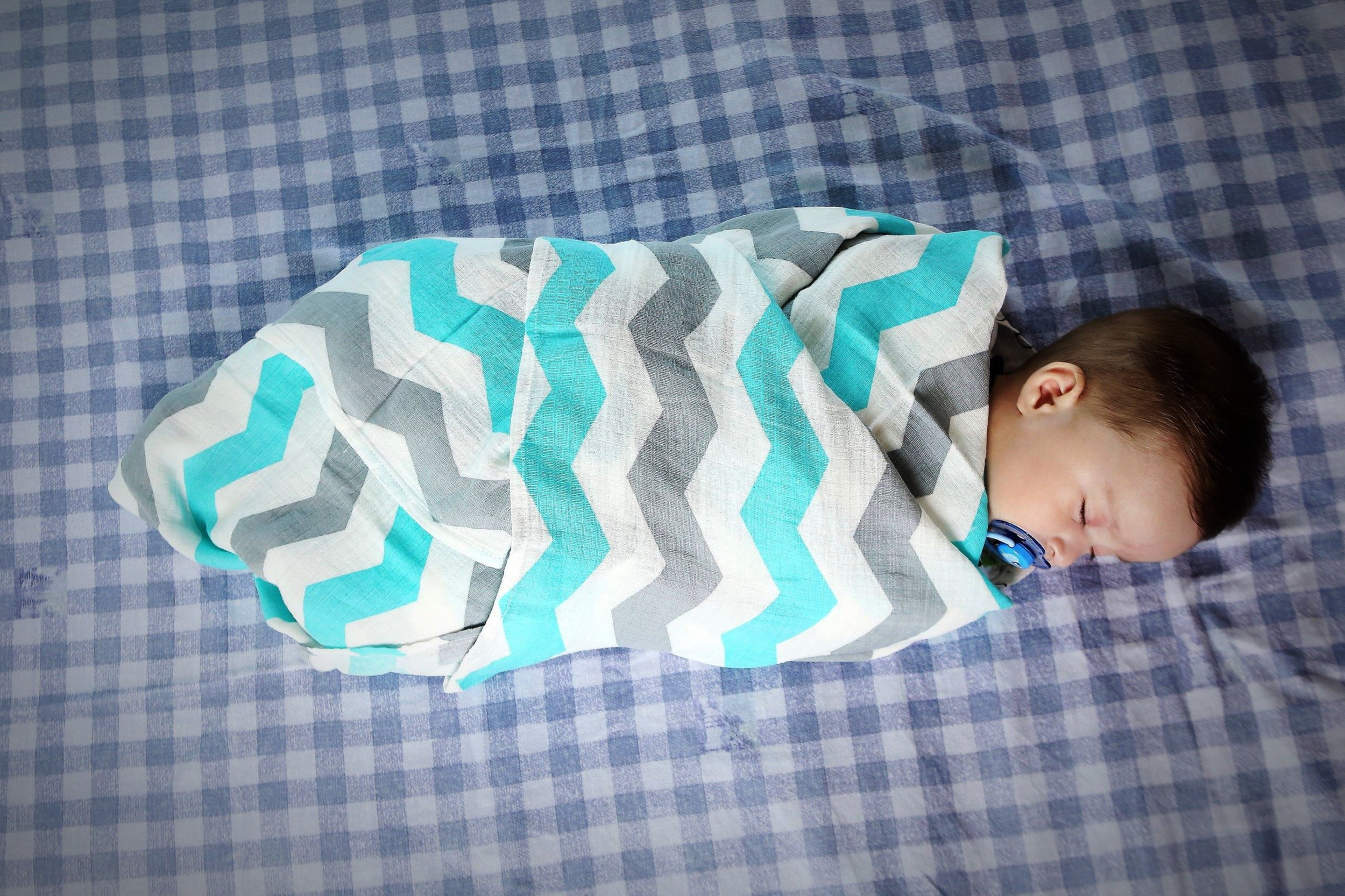 Muslin Swaddle Blankets - 100% Organic Cotton - 3 Pack 47'' x 47'' Ultrasoft and Hypoallergenic - Best Baby Shower Gift (Blue and Grey) by Green Wood (Image #4)