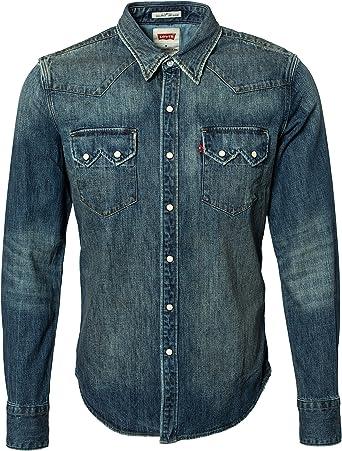 Levis - L/S Sawtooth Western Shirt hombre Azul Denim Taille Small 100% algodón.: Amazon.es: Ropa y accesorios