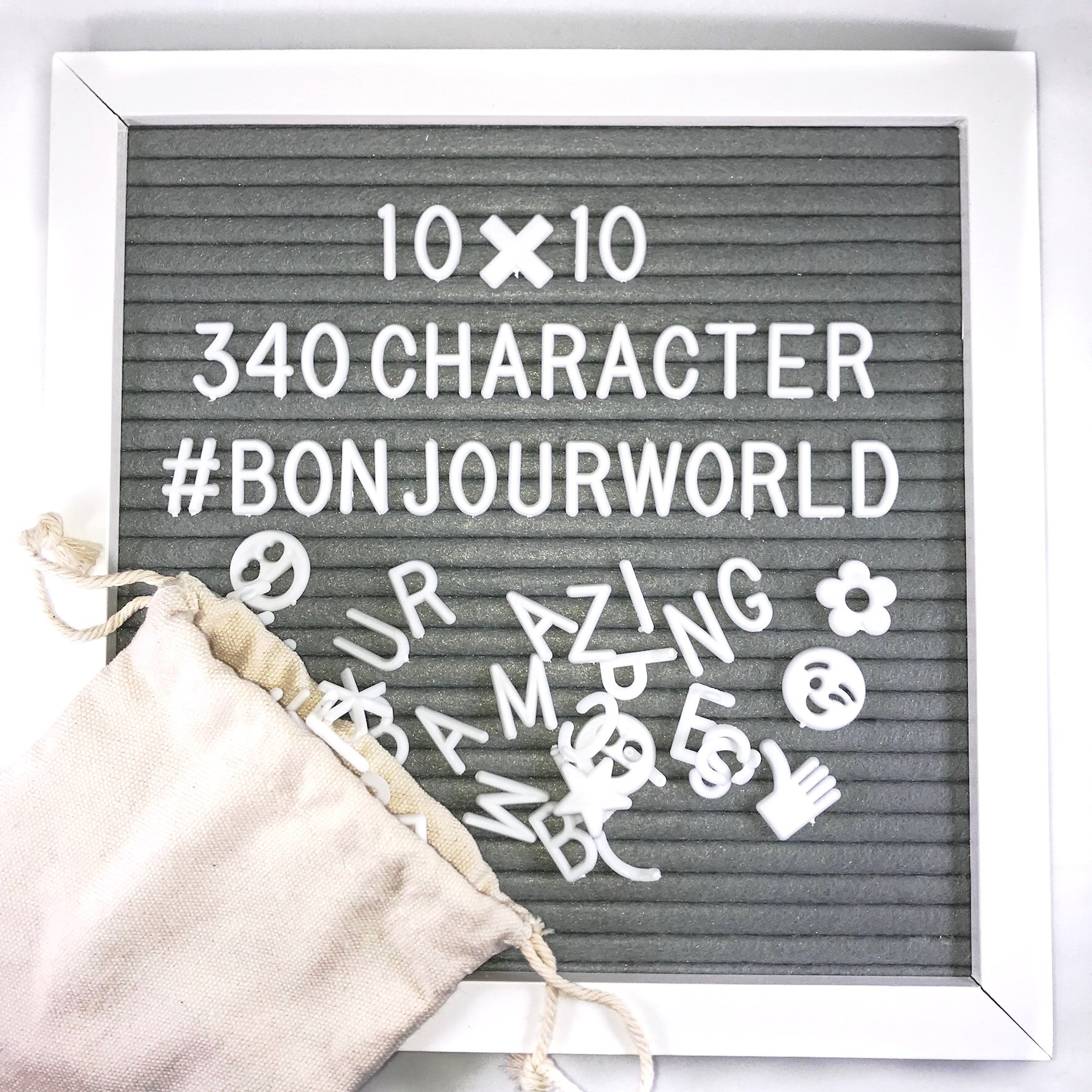 Wooden Letter Board 10''x10'' with 340 Changeable Letters, Symbols, Emojis + Canvas Bag (White)
