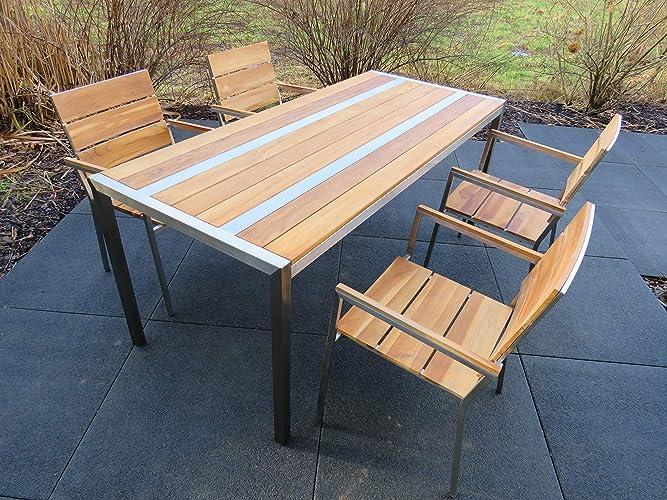 Teak Tisch4 StühleHandmade Design Gartenmöbel Edelstahl kTuZXiOP