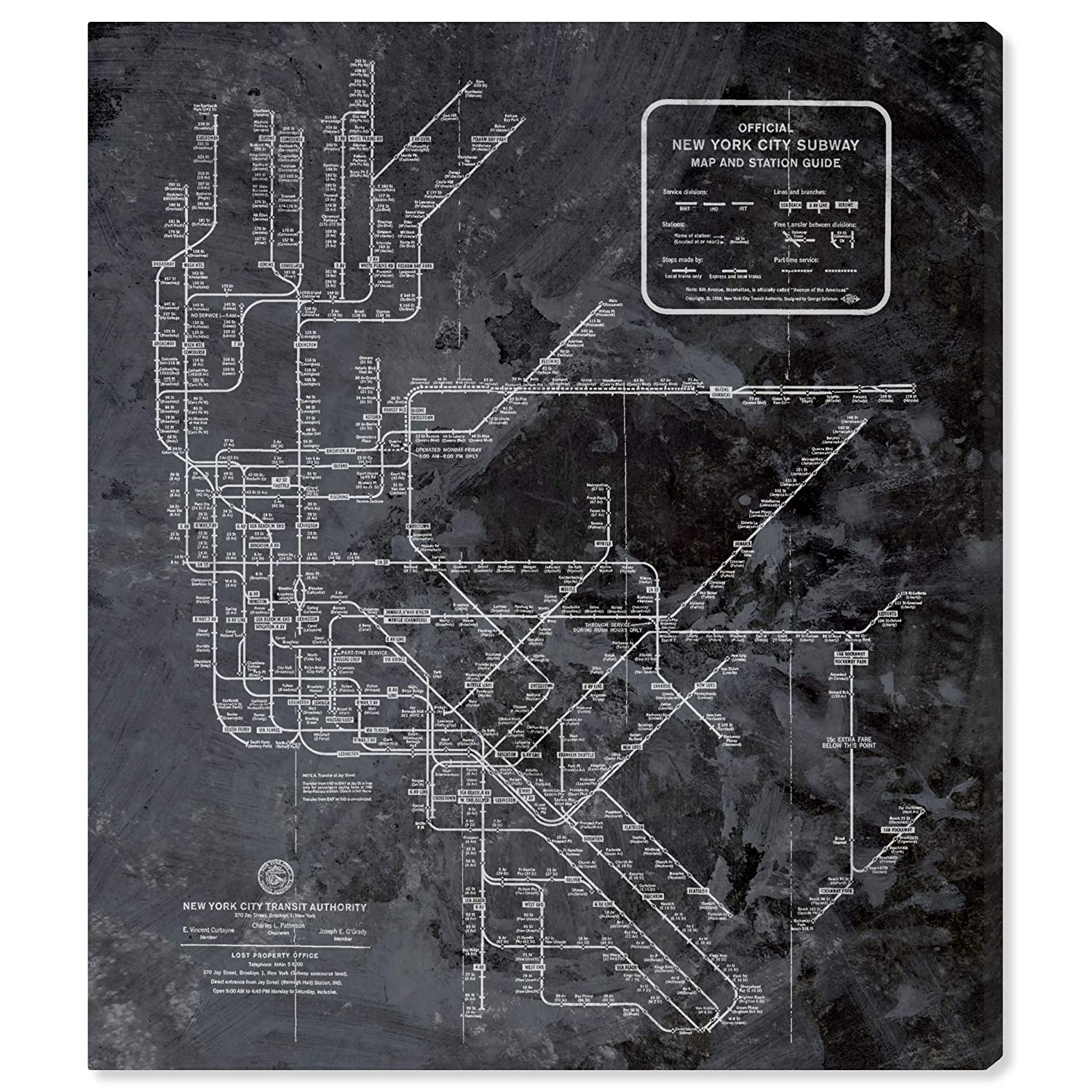 New York City Subway Map Black And White.Amazon Com The Oliver Gal Artist Co Oliver Gal Ny Subway Map Dark