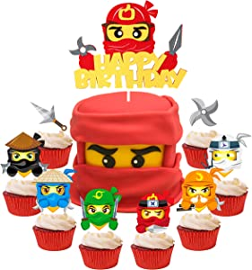 ANGOLIO 49Pcs Ninja Cake Toppers, Ninja Themed Party Cake Decorations, Happy Birthday Felt Cake Topper and Cardstock Ninja Cupcake Toppers, Kids Birthday Cake Decoration Baby Shower Party Supplies