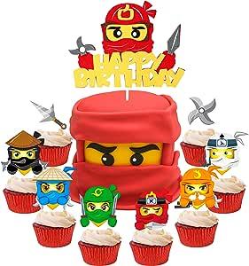 ANGOLIO 49Pcs Ninja Cake Toppers, Ninja Themed Party Cake Decorations, Happy Birthday Felt Cake Topper and Cardstock Ninja Cupcake Toppers, Kids Birthday Cake Decoration Baby Shower Party Supplies