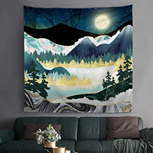 "Bonsai Tree Mountain Tapestry, Starry Sky Moon Mens Tapestry Wall Hanging Abstract, Nature Landscape Forest Trees Small Colorful Marble Wall Tapestries for Bedroom College Home Decorations, 59""x59"""