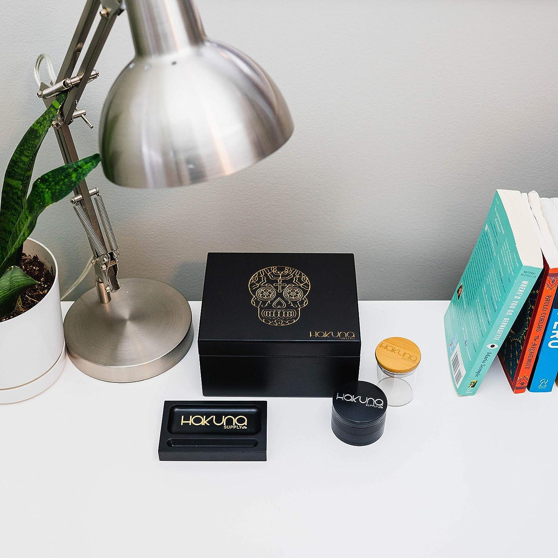 and Signature Travel Tray - Engraved, Tree of Life Hakuna Supply Products-Group Inc SB-0-1-3-11 Herb Sharp Shredder Black Storage Box with Dividers Bamboo Stash Jar
