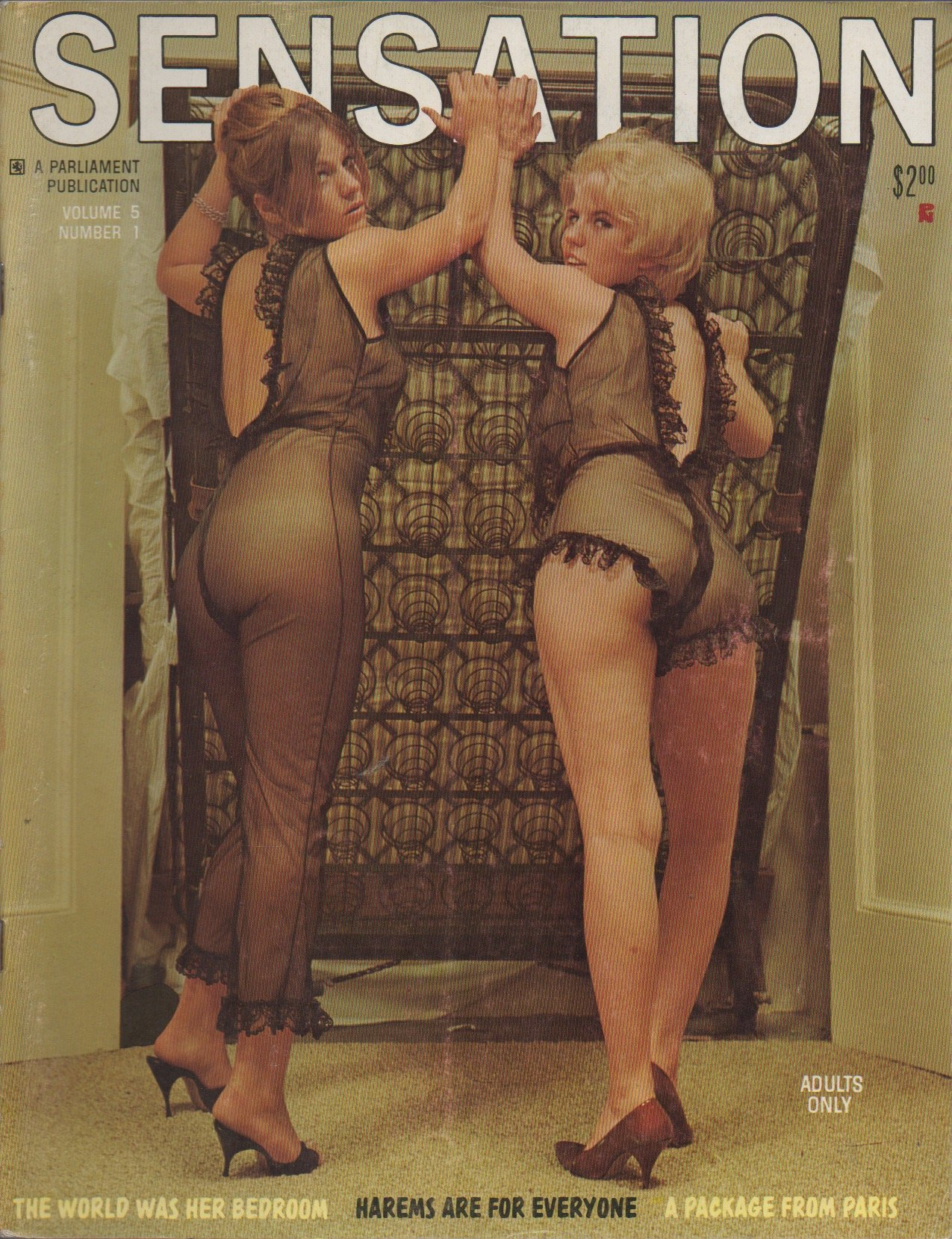 Sensation (adult nude magazine), vol. 5, no. 1 (March-April-May 1968) (La  Belle Otero; Harems for Everyone; Lori Duchamps; Peri Carr; Take It Off,  Babe!)
