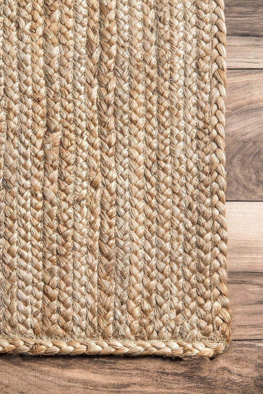 150 x 240 cm Natural nuLOOM Alfombra de Yute de Rigo Tejida a Mano Yute