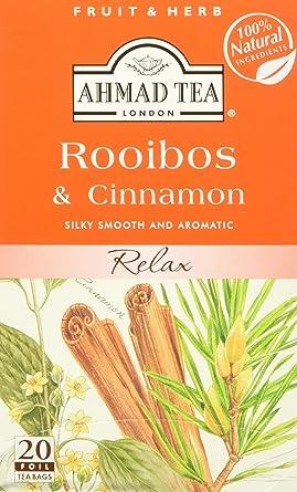 Ahmad Tea - Infusión de té Rooibos y canela 20 bolsas – 1.06 ...