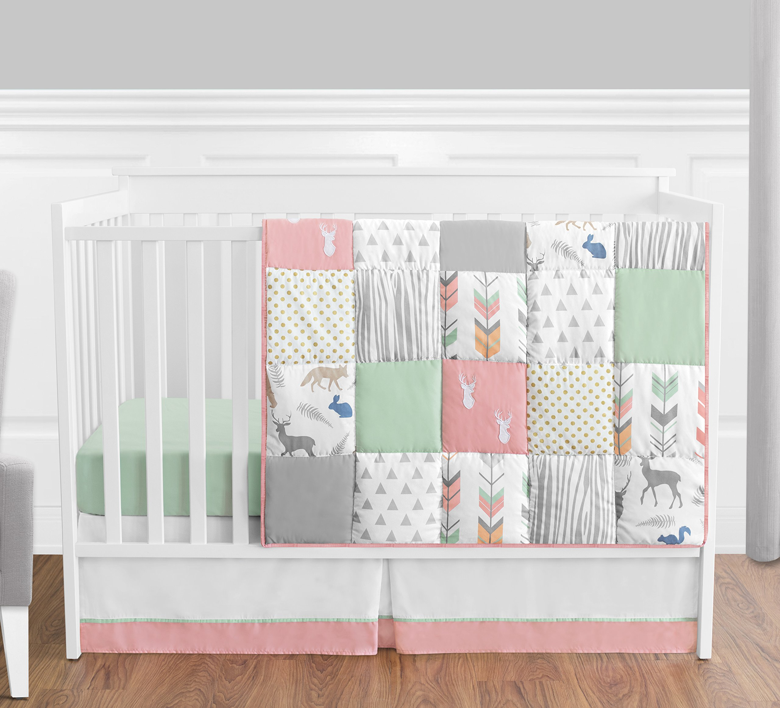 Coral, Mint and Grey Woodsy Deer Girls Baby Bedding 4 Piece Crib Set Without Bumper