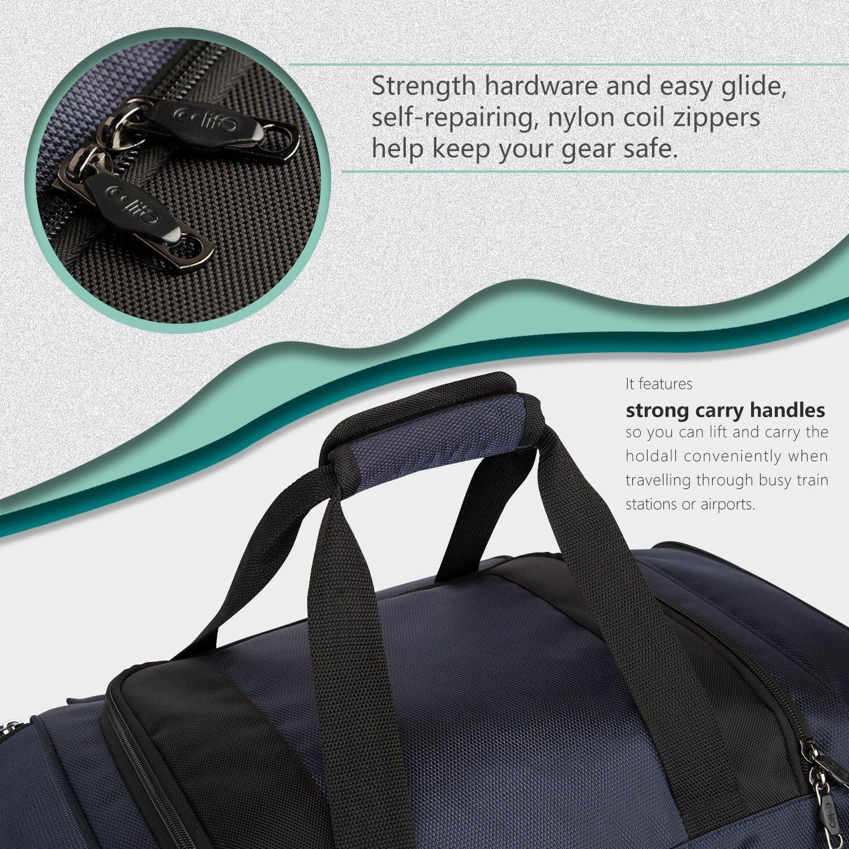 Coolife Rolling Duffel Travel Duffel Bag Wheeled Duffel Suitcase Luggage 8 Pockets