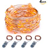 Micro LED String Lights Battery Powered ITART Set of 4 Orange Mini String Light 20 LEDs / 6ft (2m) Ultra Thin Copper Wire Rope Lights for Halloween Trees Wedding Parties Bedroom