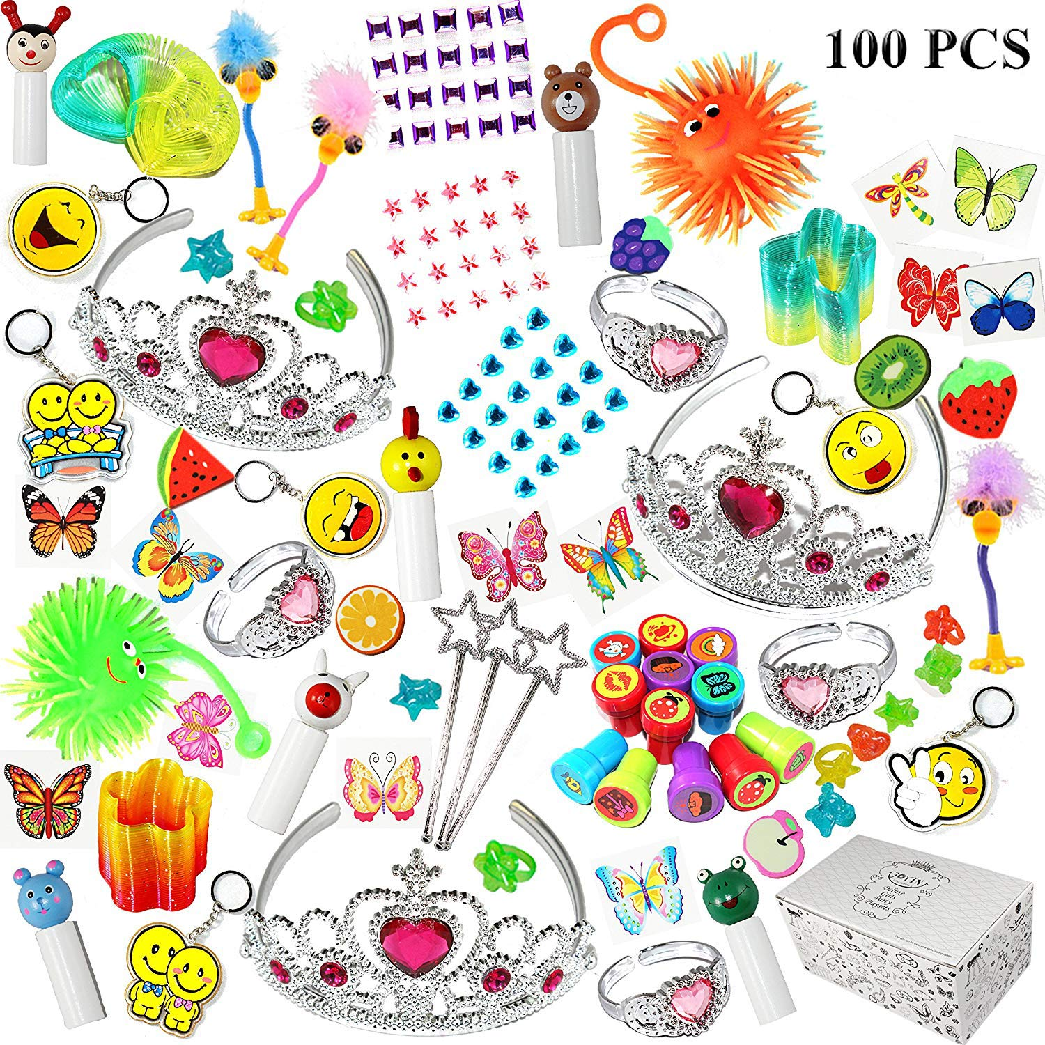 Joyin Toy 100 Pc Party Favor Toy Assortment for Girls, Party Favor for kids, Birthday Party Supplies, School Classroom Rewards, Carnival Prizes, Pinata Fillers, Stocking Stuffers
