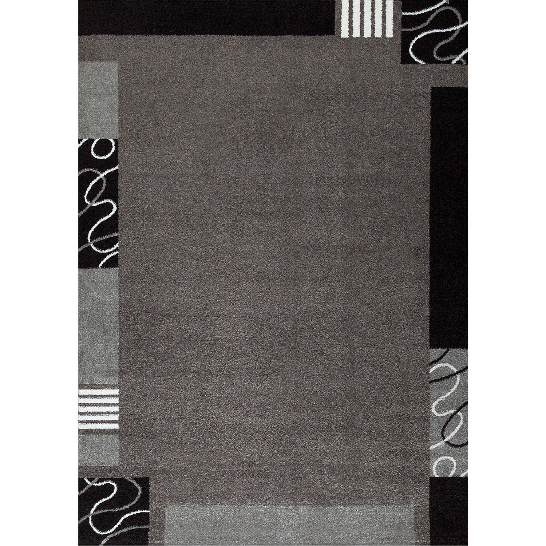VIMODA Frisee Kurzflor Teppich, Modern in Grau Schwarz, versch Umrandung Größen, Muster mit Umrandung versch - ÖKO TEX Zertifiziert, Maße:200 x 290 cm 6d82a5