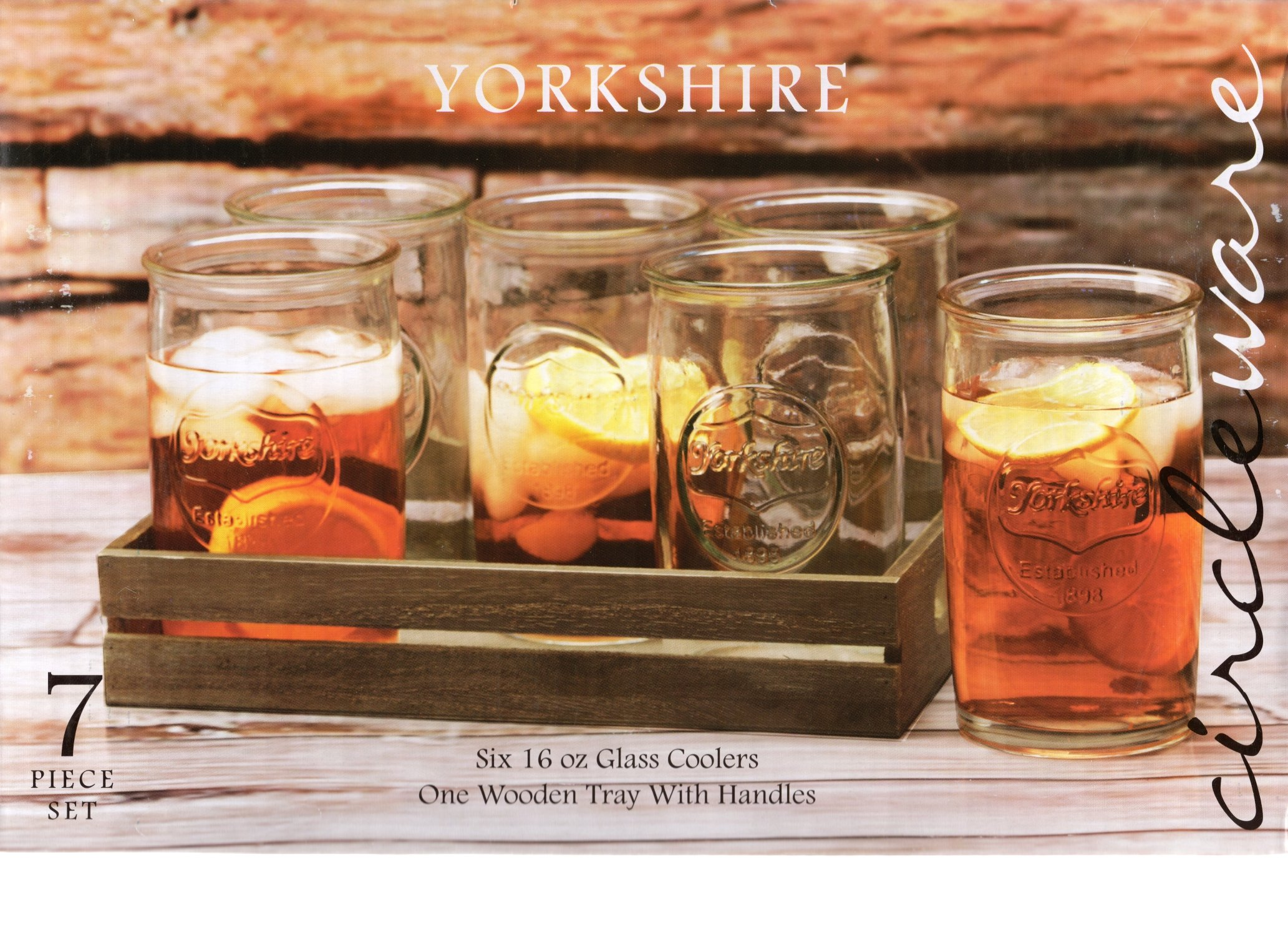 Circleware 69003 Yorkshire 7-Piece Set of 6 Beverage Cooler Drinking Glasses & Wood Tray with Handles, Home Kitchen Tumbler Cups for Water, Milk, Juice, Beer, Ice Tea, Farmhouse Decor 16 oz Clear by Circleware