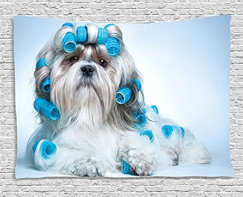 Ambesonne Dog Lover Tapestry, Shih Tzu Dog Grooming Hairstyle Salon Front View Closeup Studio Shot, Wide Wall Hanging for Bedroom Living Room Dorm, 60 X 40 , White Blue