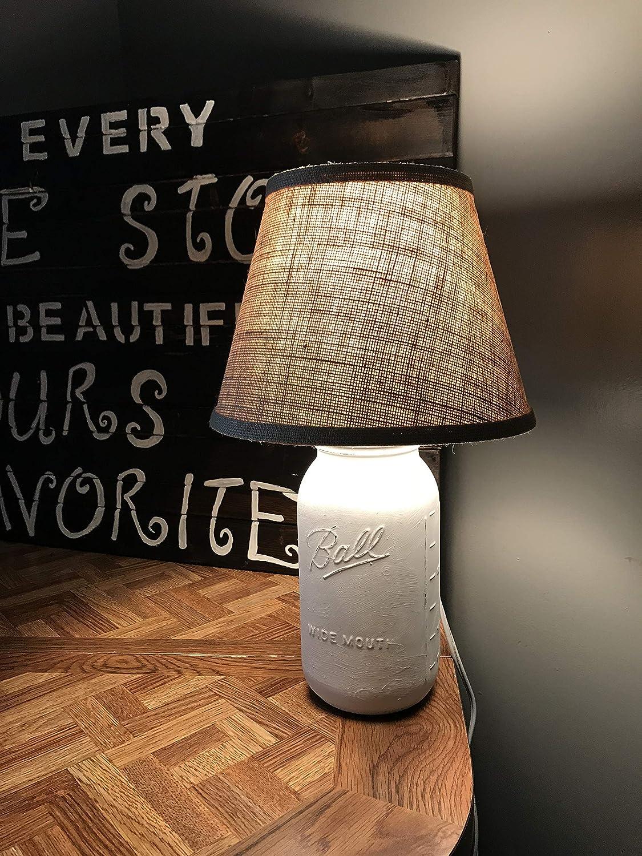 Rustic Mason Jar Lamp, Mason Jar Lamp with Shade, Accent Lamp, Burlap, Desk Lamp, Lamp, Mason Jar, Home Decor, Gift, Farmhouse Lamp, White