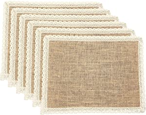 FiveRen Placemats Burlap and Beige Lace Jute Rustic Farmhouse Table Mats Table Decor & One of Life's Little Home Luxuries for Special Occasions, Parties, Weddings, BBQ's, Holidays (Set of 6)